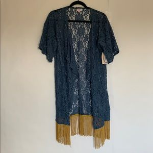 Lularoe Monroe gray/blue and gold lace NWT